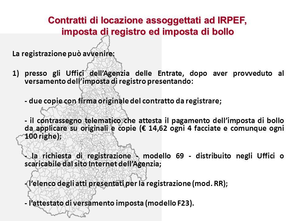 Contratti di locazione assoggettati ad IRPEF, imposta di registro ed imposta di bollo
