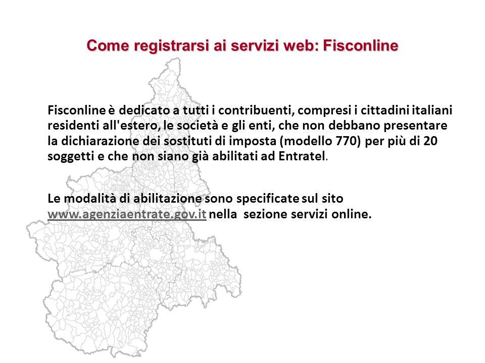Come registrarsi ai servizi web: Fisconline