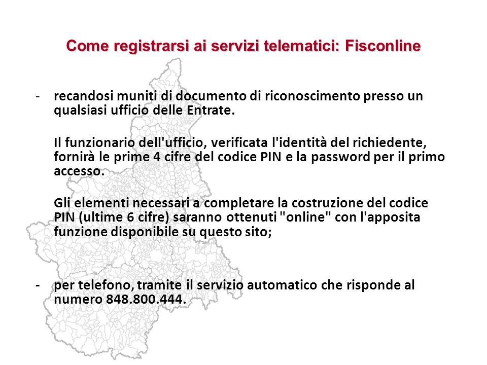 Come registrarsi ai servizi telematici: Fisconline