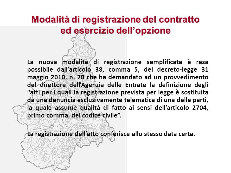 Modalità di registrazione del contratto ed esercizio dell'opzione