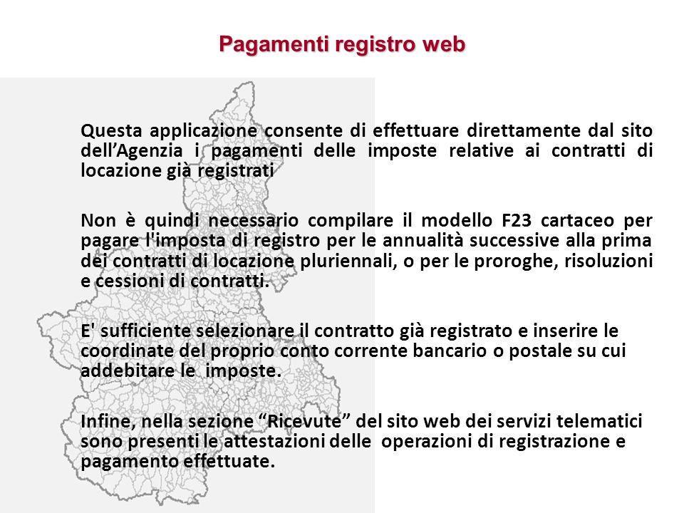 Pagamenti registro web
