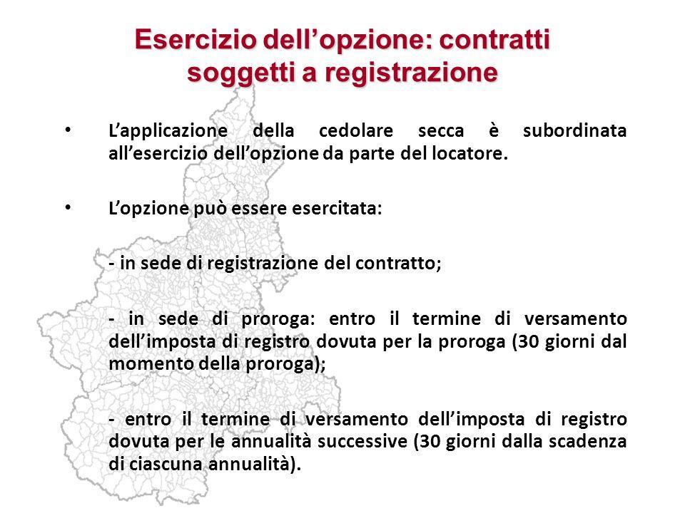 Esercizio dell'opzione: contratti soggetti a registrazione