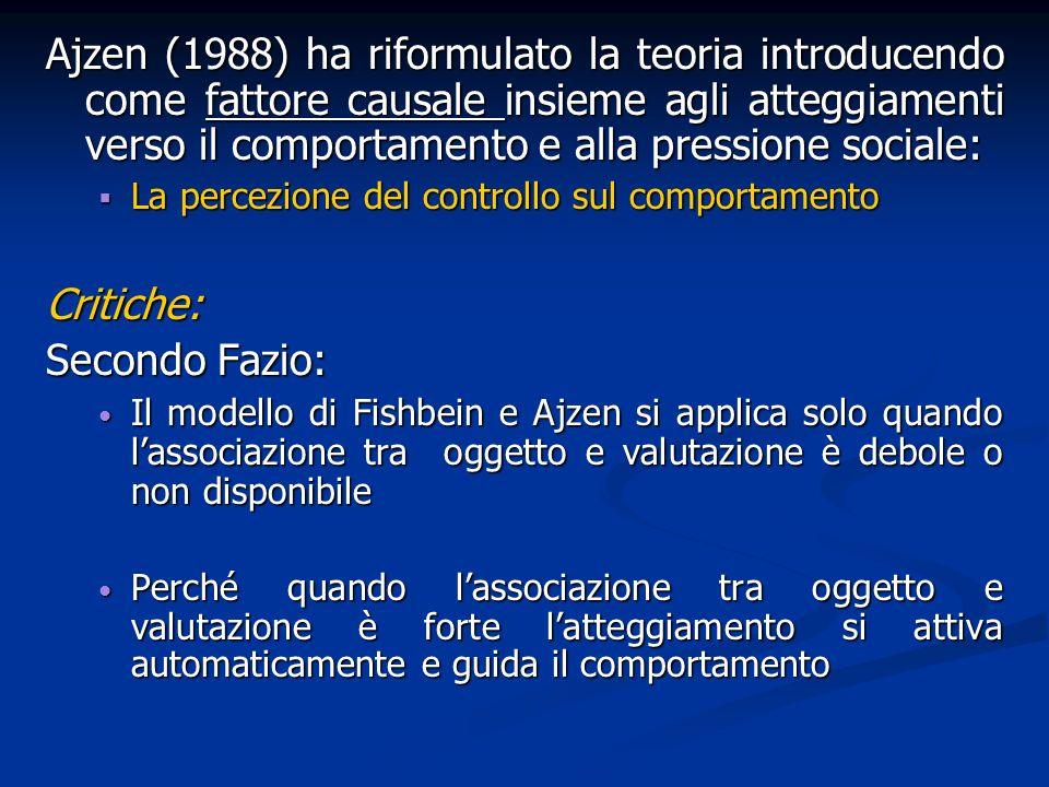 Ajzen (1988) ha riformulato la teoria introducendo come fattore causale insieme agli atteggiamenti verso il comportamento e alla pressione sociale: