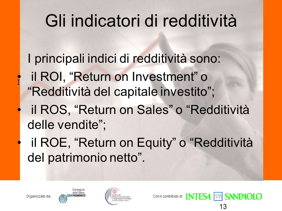 Gli indicatori di redditività