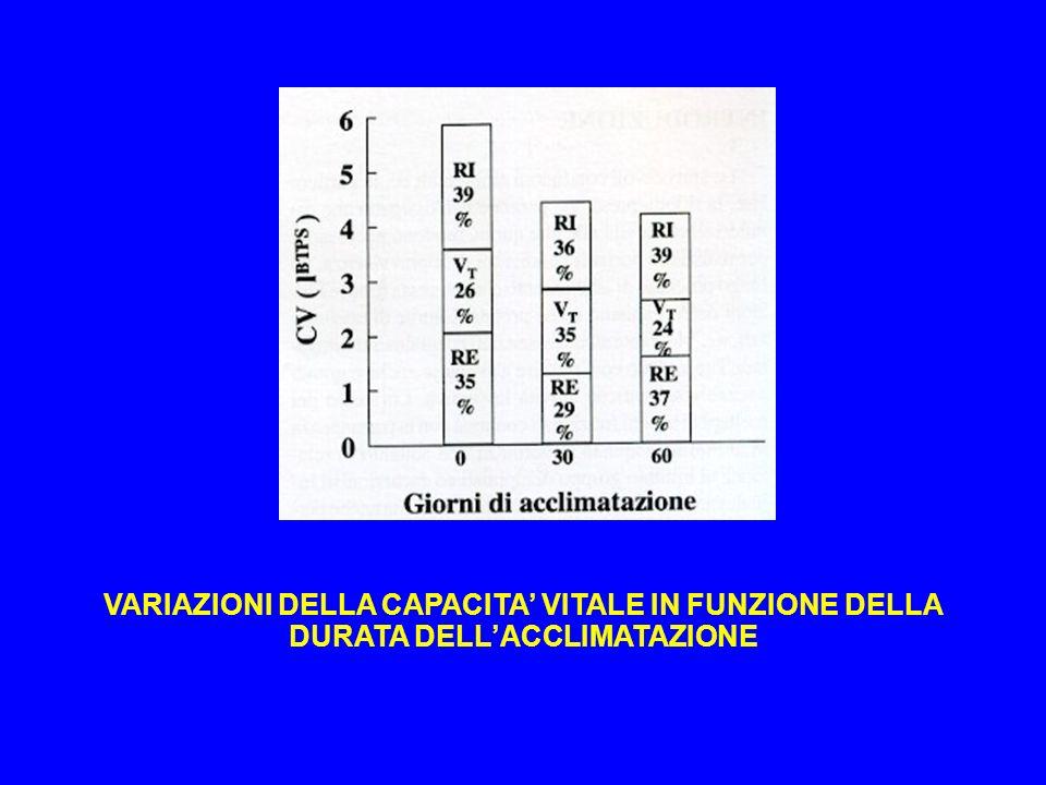VARIAZIONI DELLA CAPACITA' VITALE IN FUNZIONE DELLA DURATA DELL'ACCLIMATAZIONE