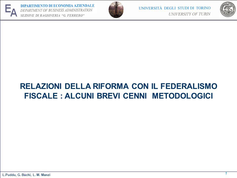 E A. SEZIONE DI RAGIONERIA G. FERRERO RELAZIONI DELLA RIFORMA CON IL FEDERALISMO FISCALE : ALCUNI BREVI CENNI METODOLOGICI.