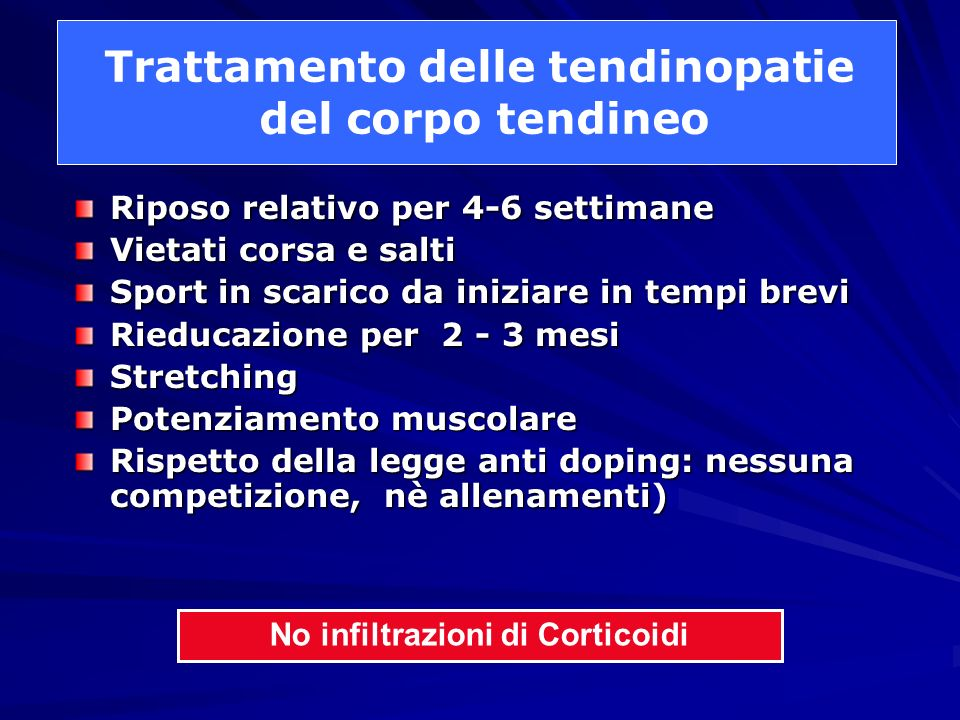 Trattamento delle tendinopatie No infiltrazioni di Corticoidi