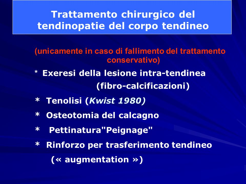 Trattamento chirurgico del tendinopatie del corpo tendineo