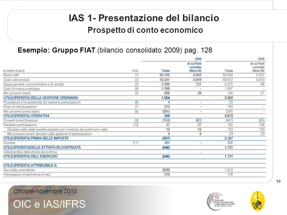 IAS 1- Presentazione del bilancio Prospetto di conto economico