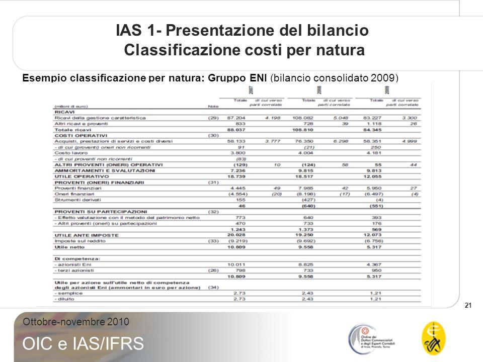 IAS 1- Presentazione del bilancio Classificazione costi per natura