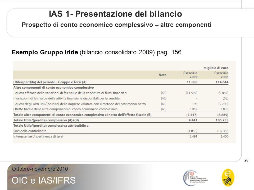IAS 1- Presentazione del bilancio Prospetto di conto economico complessivo – altre componenti
