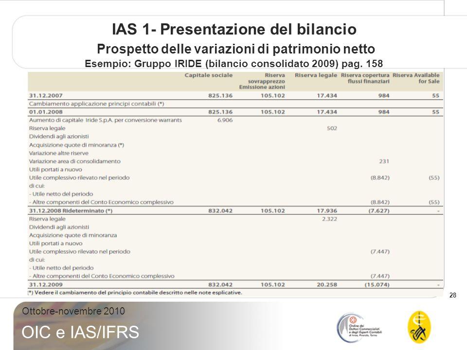 IAS 1- Presentazione del bilancio Prospetto delle variazioni di patrimonio netto Esempio: Gruppo IRIDE (bilancio consolidato 2009) pag.
