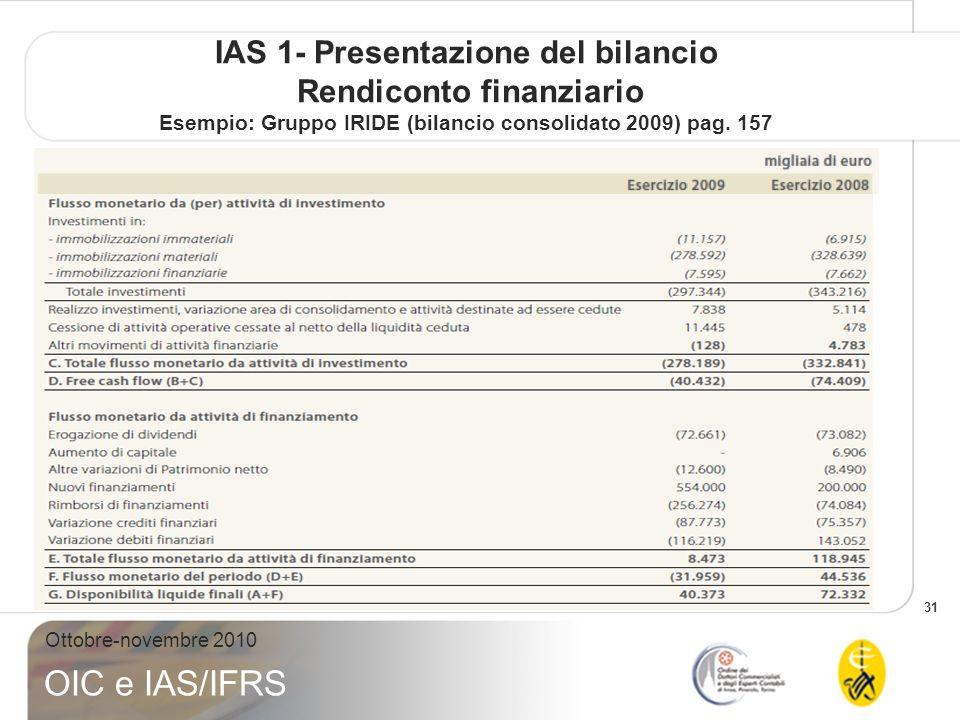 IAS 1- Presentazione del bilancio Rendiconto finanziario Esempio: Gruppo IRIDE (bilancio consolidato 2009) pag.