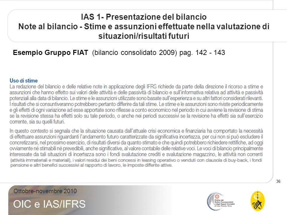 IAS 1- Presentazione del bilancio Note al bilancio - Stime e assunzioni effettuate nella valutazione di situazioni/risultati futuri