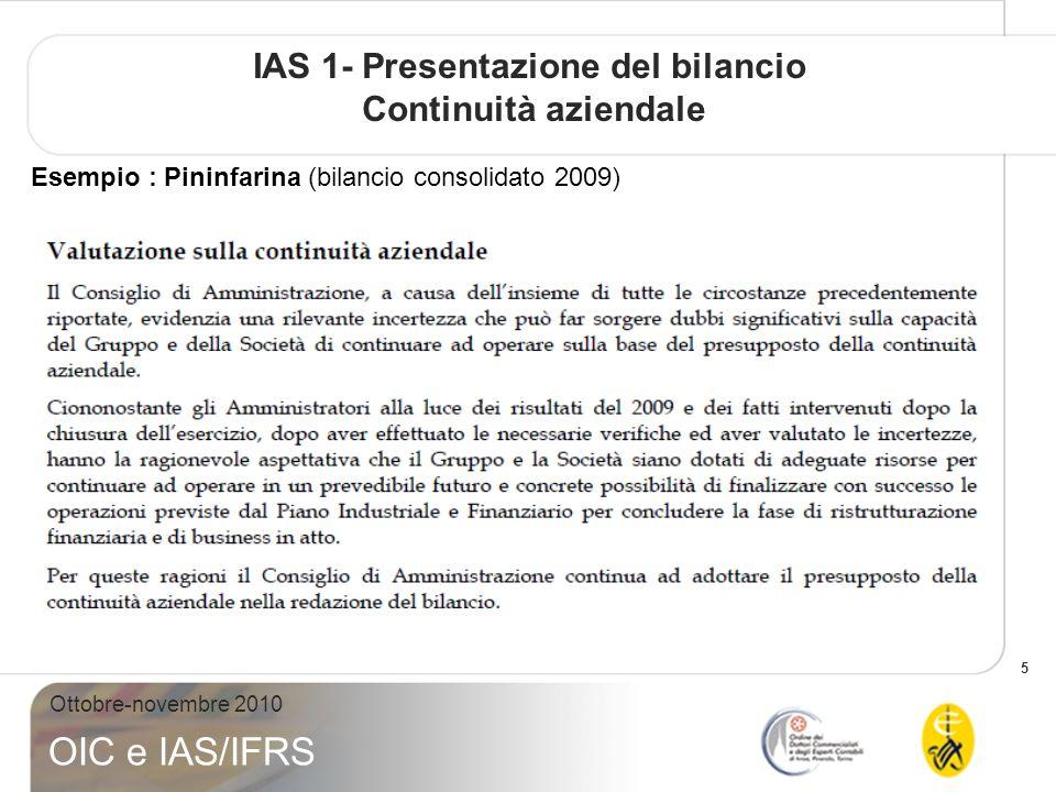 IAS 1- Presentazione del bilancio Continuità aziendale