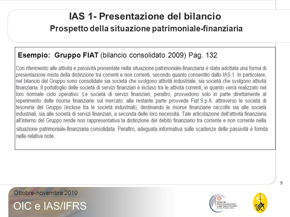 IAS 1- Presentazione del bilancio Prospetto della situazione patrimoniale-finanziaria