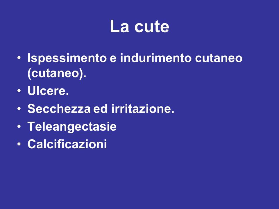 La cute Ispessimento e indurimento cutaneo (cutaneo). Ulcere.