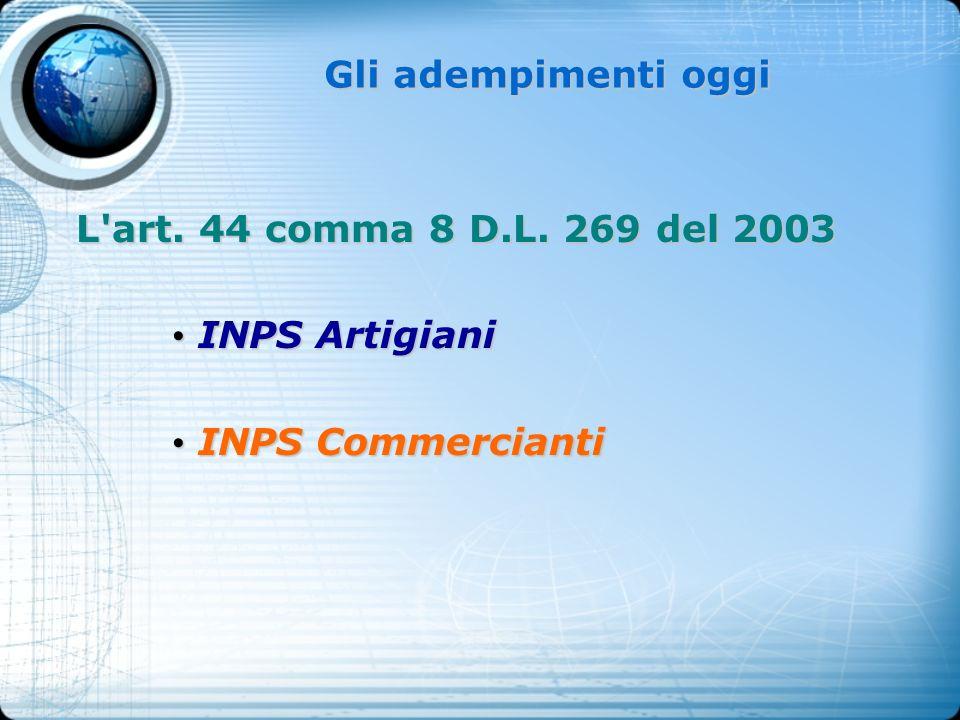 Gli adempimenti oggi L art. 44 comma 8 D.L. 269 del 2003 INPS Artigiani INPS Commercianti