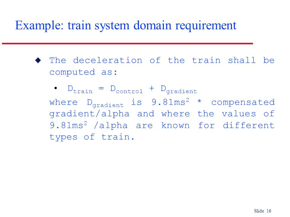 Example: train system domain requirement