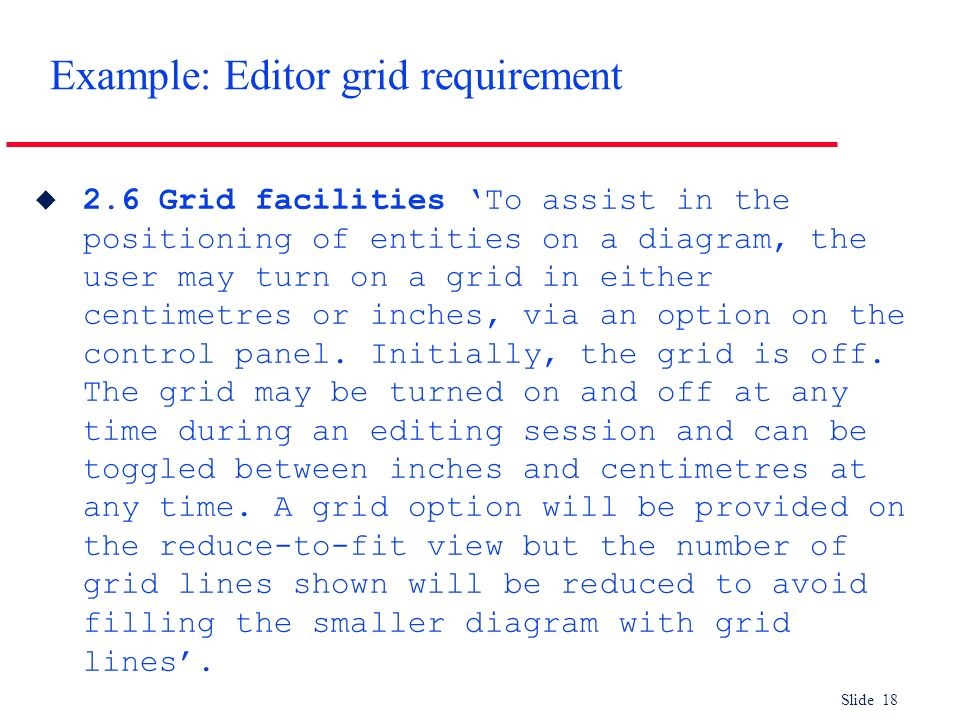 Example: Editor grid requirement