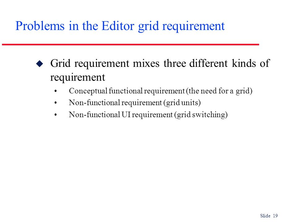 Problems in the Editor grid requirement