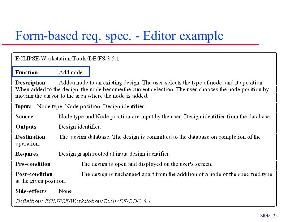 Form-based req. spec. - Editor example