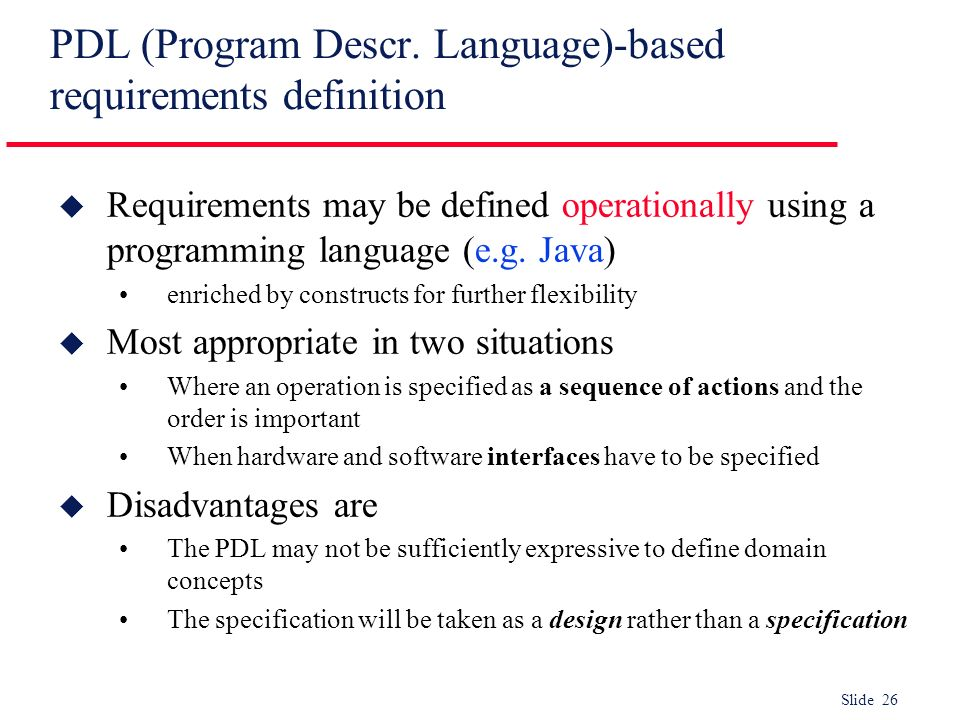 PDL (Program Descr. Language)-based requirements definition