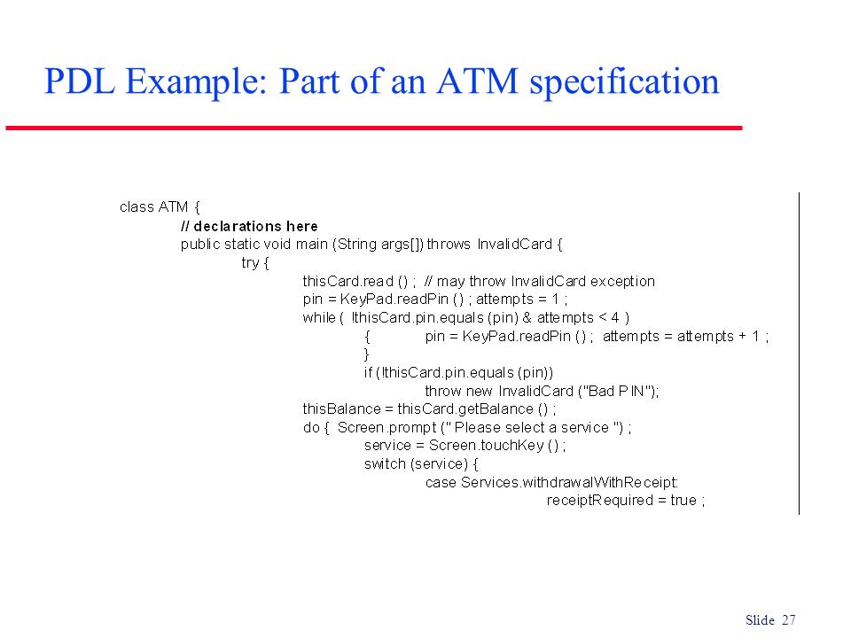 PDL Example: Part of an ATM specification