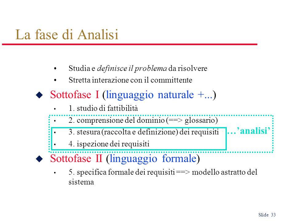 La fase di Analisi Sottofase I (linguaggio naturale +...)