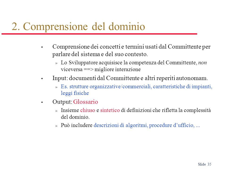 2. Comprensione del dominio