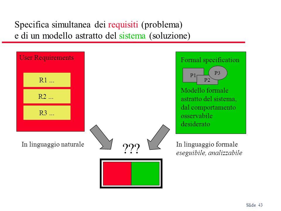 Specifica simultanea dei requisiti (problema) e di un modello astratto del sistema (soluzione)