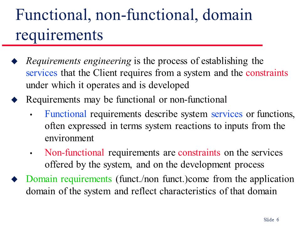 Functional, non-functional, domain requirements