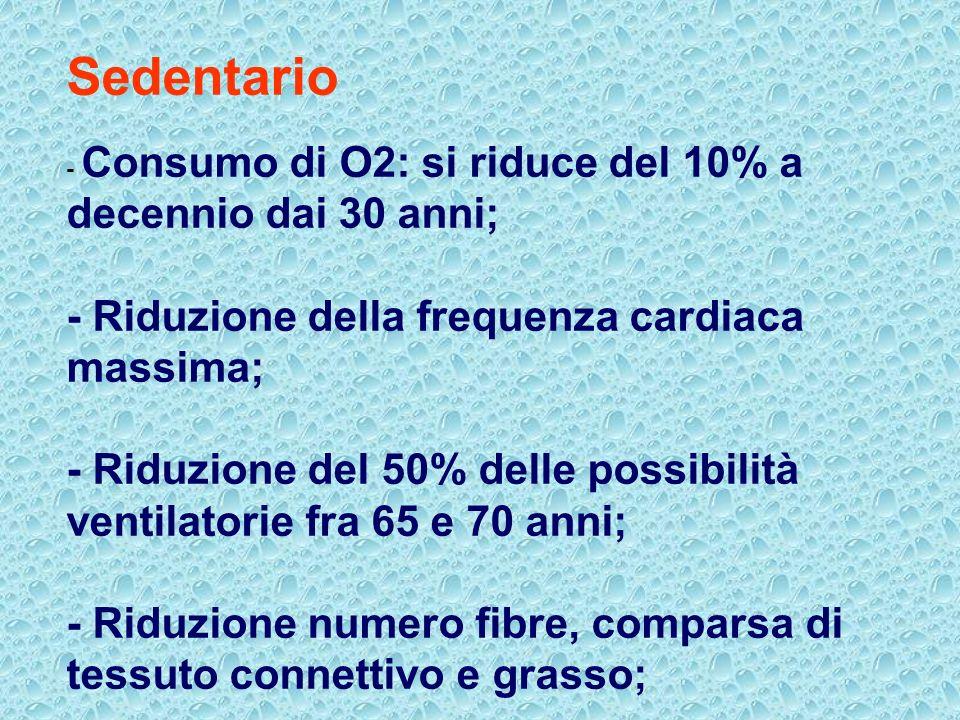 Sedentario - Consumo di O2: si riduce del 10% a decennio dai 30 anni; - Riduzione della frequenza cardiaca massima; - Riduzione del 50% delle possibilità ventilatorie fra 65 e 70 anni; - Riduzione numero fibre, comparsa di tessuto connettivo e grasso;