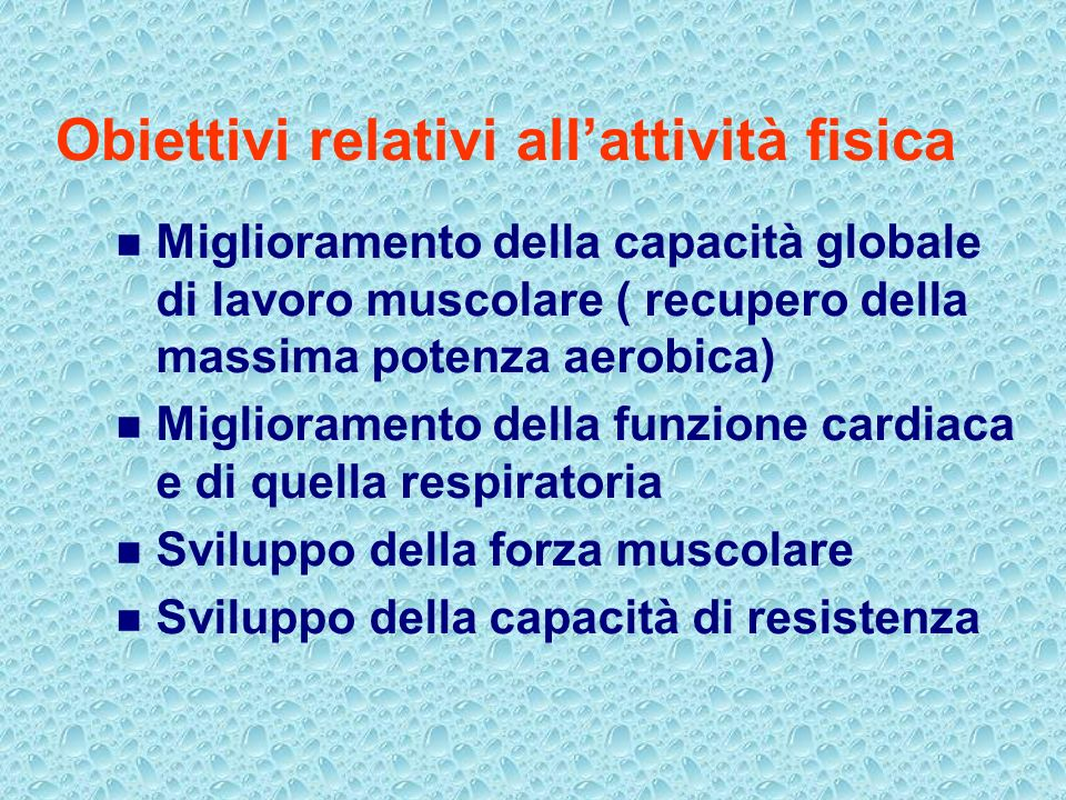Obiettivi relativi all'attività fisica