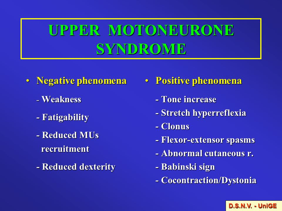 UPPER MOTONEURONE SYNDROME