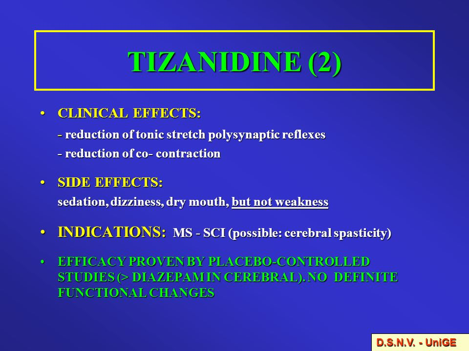 TIZANIDINE (2) INDICATIONS: MS - SCI (possible: cerebral spasticity)