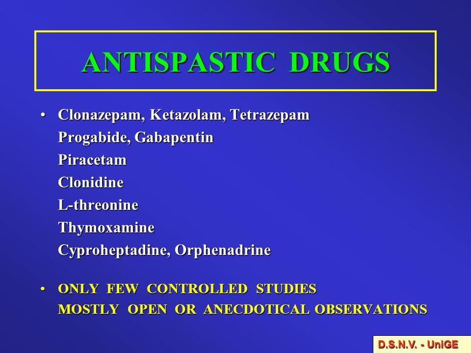 ANTISPASTIC DRUGS Clonazepam, Ketazolam, Tetrazepam