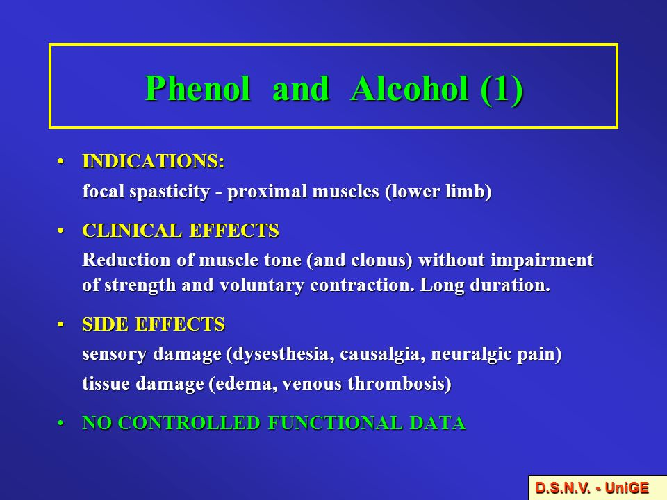 Phenol and Alcohol (1) INDICATIONS: