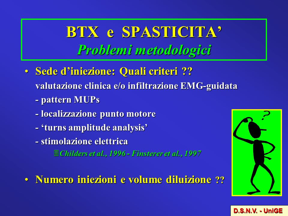 BTX e SPASTICITA' Problemi metodologici