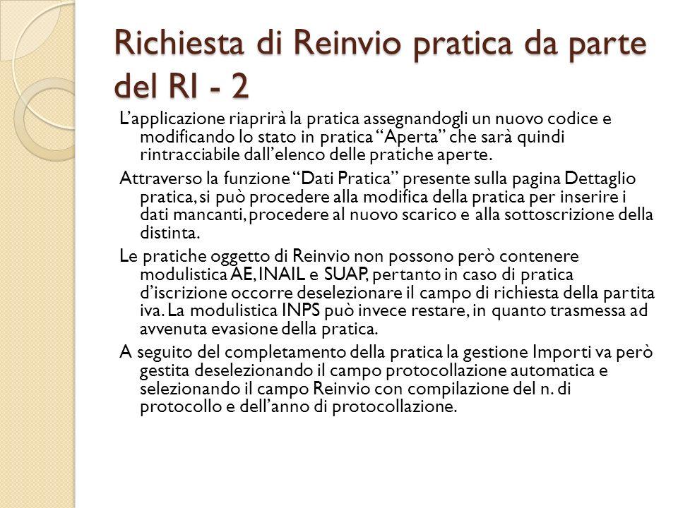 Richiesta di Reinvio pratica da parte del RI - 2