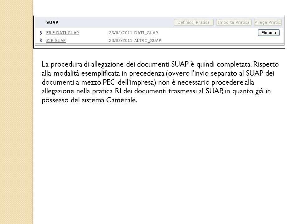 La procedura di allegazione dei documenti SUAP è quindi completata