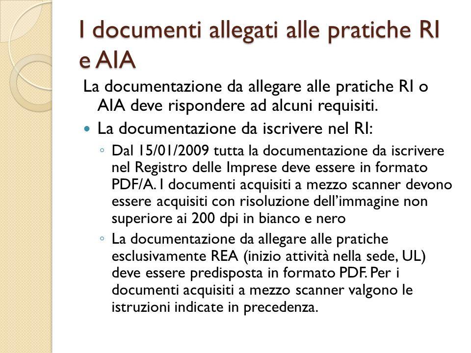 I documenti allegati alle pratiche RI e AIA