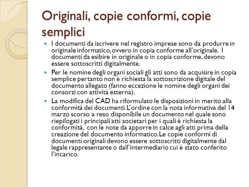Originali, copie conformi, copie semplici