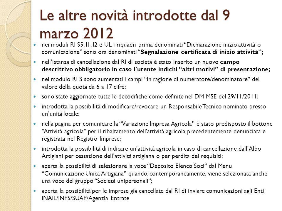 Le altre novità introdotte dal 9 marzo 2012