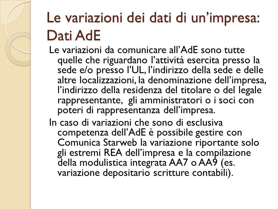 Le variazioni dei dati di un'impresa: Dati AdE