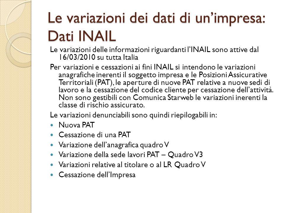 Le variazioni dei dati di un'impresa: Dati INAIL