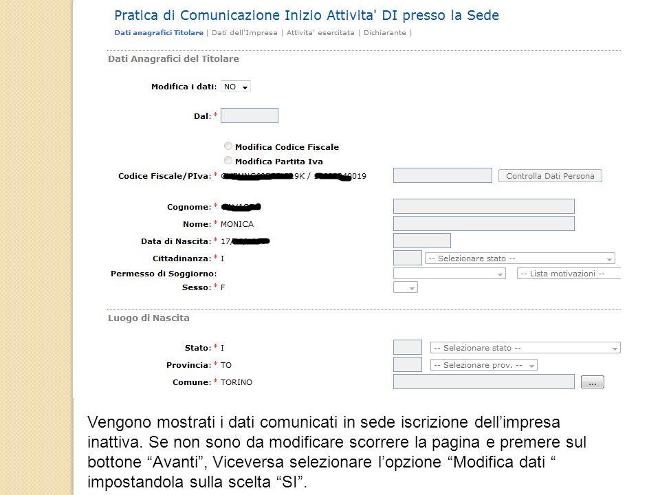 Vengono mostrati i dati comunicati in sede iscrizione dell'impresa inattiva.