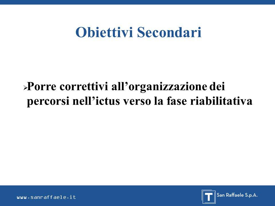 Obiettivi Secondari Porre correttivi all'organizzazione dei percorsi nell'ictus verso la fase riabilitativa.