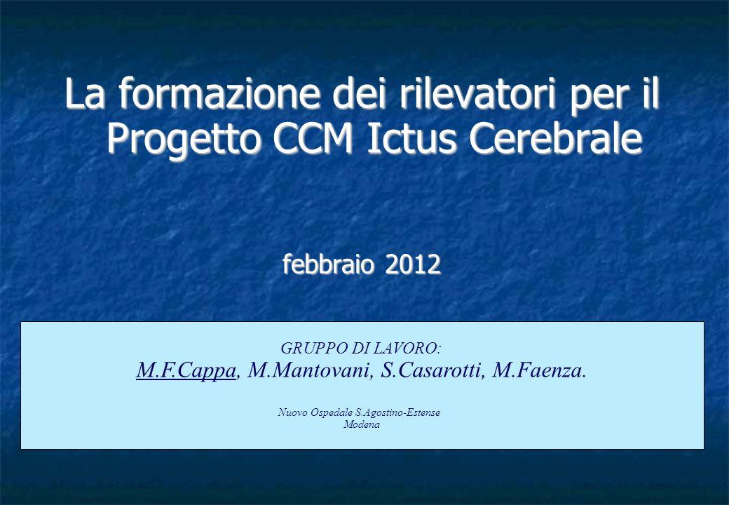La formazione dei rilevatori per il Progetto CCM Ictus Cerebrale