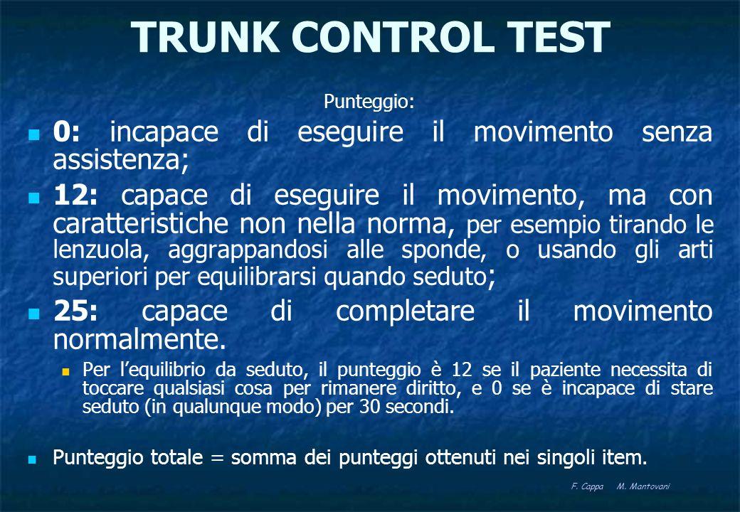 TRUNK CONTROL TESTPunteggio: 0: incapace di eseguire il movimento senza assistenza;